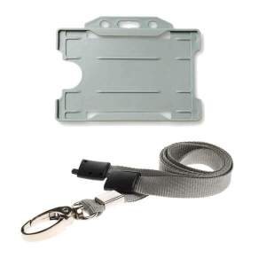 Grey ID Card Holder and Lanyard with Metal Clip