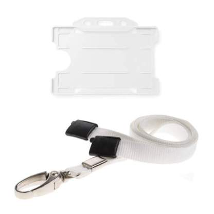 White ID Card Holder and Lanyard with Metal Clip