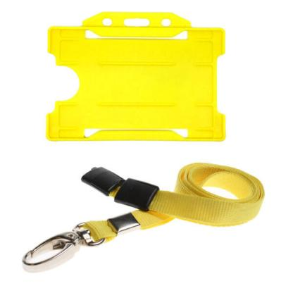 Yellow ID Card Holder and Lanyard with Metal Clip