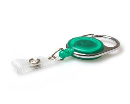 Green Carabiner ID Badge Reels with Strap Clip (Pack of 50)
