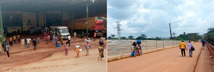 Informal traders and customs facilities at the Cote d'Ivoire-Ghana border. ALG News