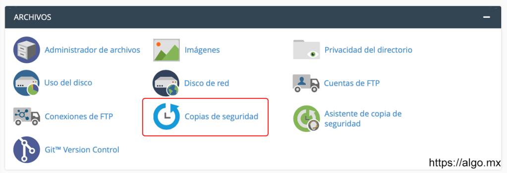 Generar copias de respaldo Cpanel