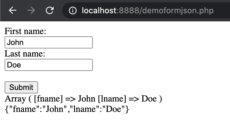json con php
