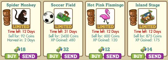 Spider Monkey, Soccer Field, Hot Pink Flamingo, Island Stage Farmville