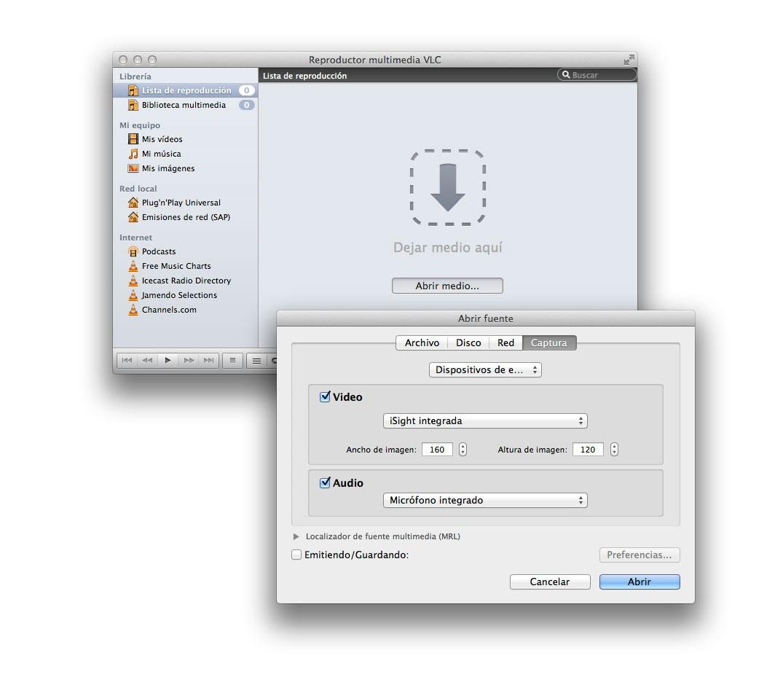 Grabar la webcam con VLC