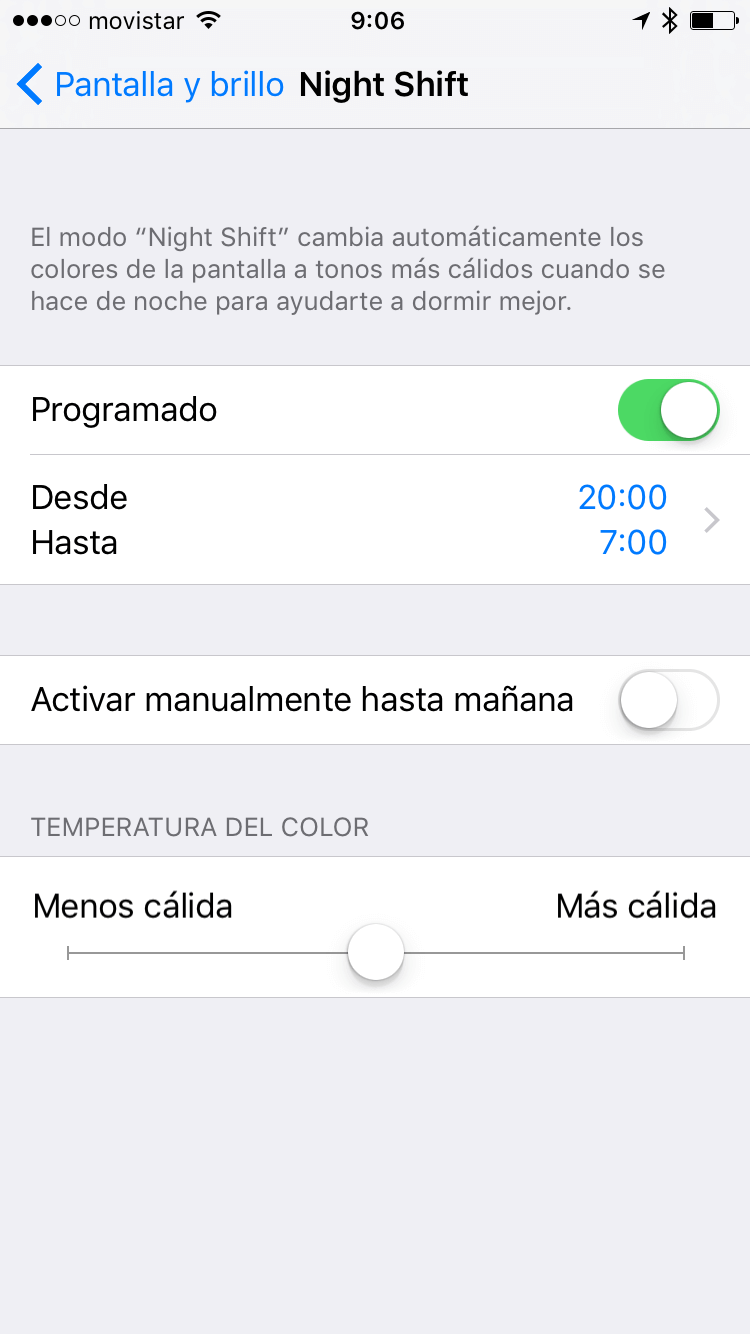 Cómo activar Night Shift en un iPhone