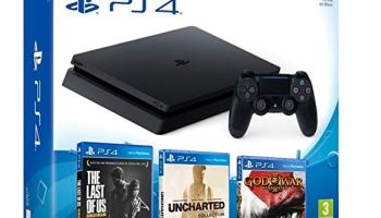 Playstation 4 Consola PS4 Slim 1Tb + 5 Juegos - The Last of us + God of war 3 + Uncharted Nathan Drake Collection - MEGAPACK