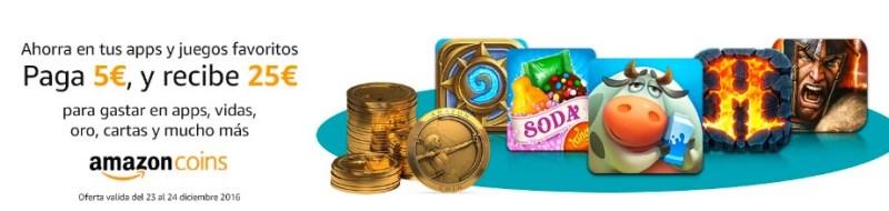 ¡Oferta! Paga 5 euros y recibe 25 euros en Amazon Coins (Diciembre 2016)