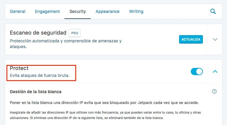 Bloquear los ataques de Fuerza Bruta en WordPress contra el archivo xmlrpc.php con Jetpack.