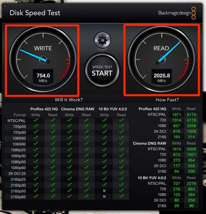 Blackmagic Design Disk Speed Test mac