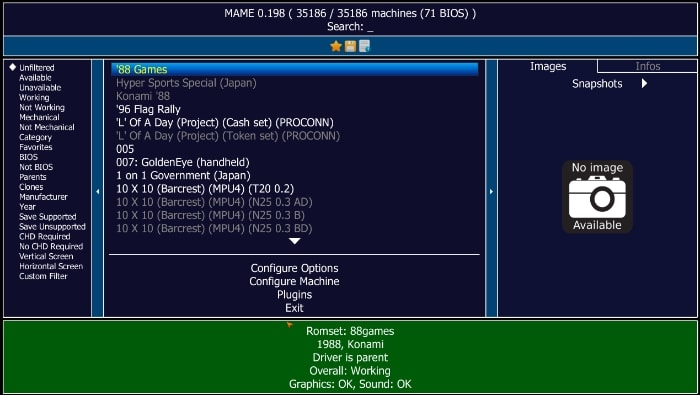 Entorno gráfico MAME en PC