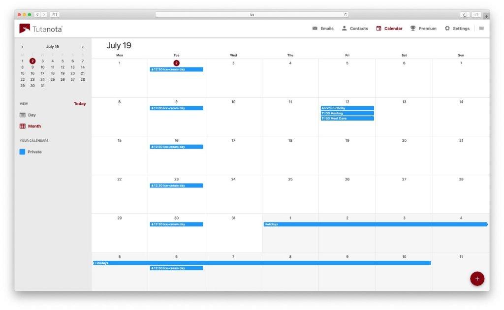 Alternativas al calendario de Google: Tutanota