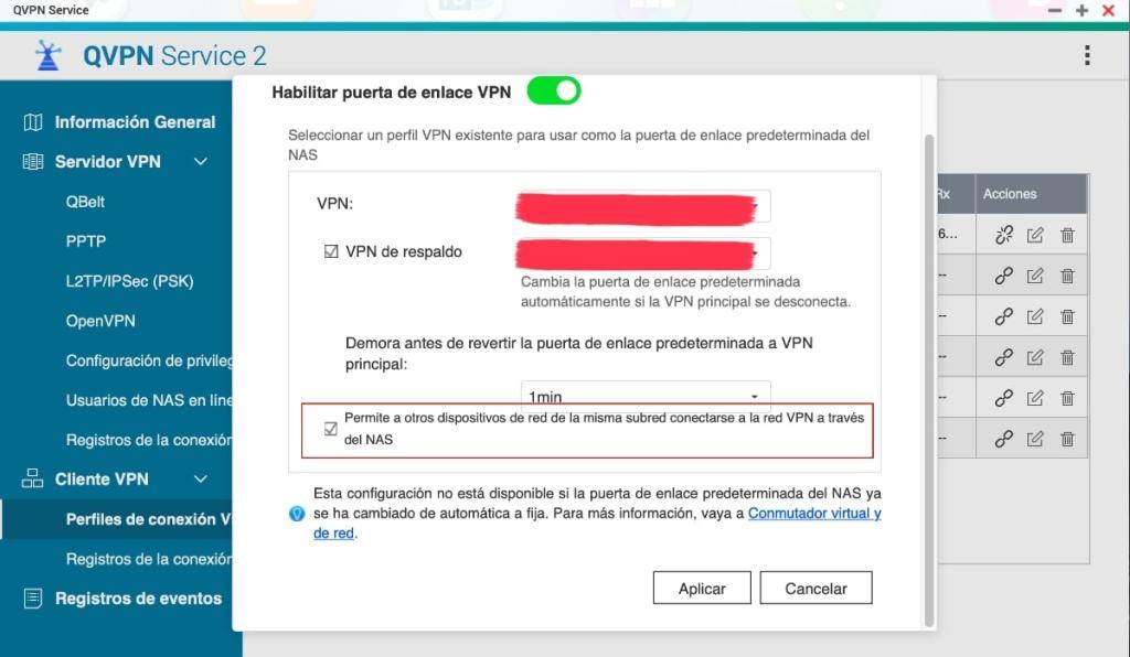 Usar VPN como Puerta de enlace predeterminadas del NAS