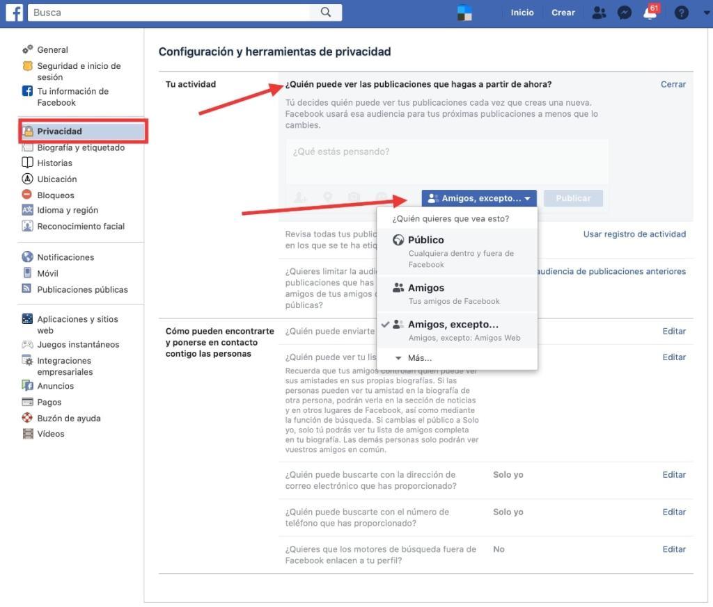 Modifica la privacidad de tus publicaciones y quien puede verlas en Facebook