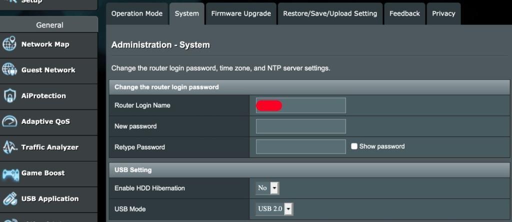 router asus cambio password