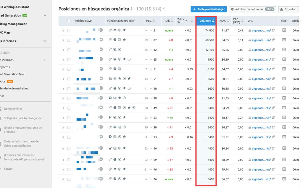 Filtro por volumen de búsquedas en Semrush