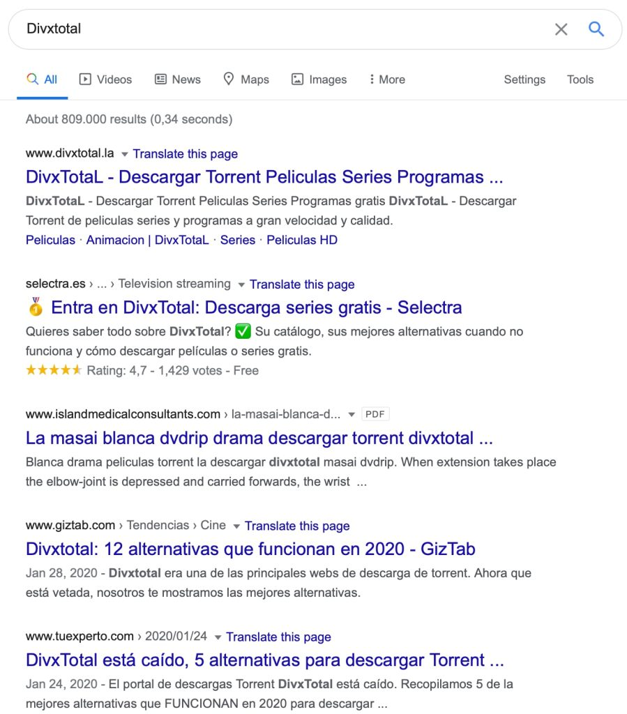 divxtotal google