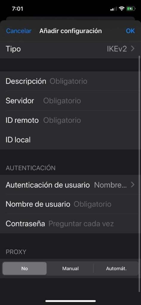 Añadir configuración VPN iPhone