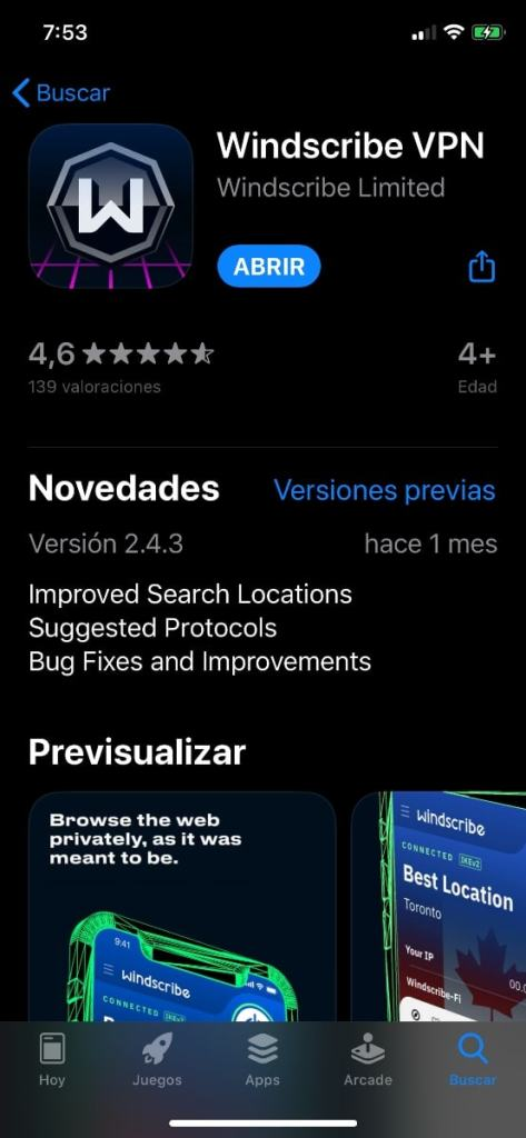 Windscribe en la App Store