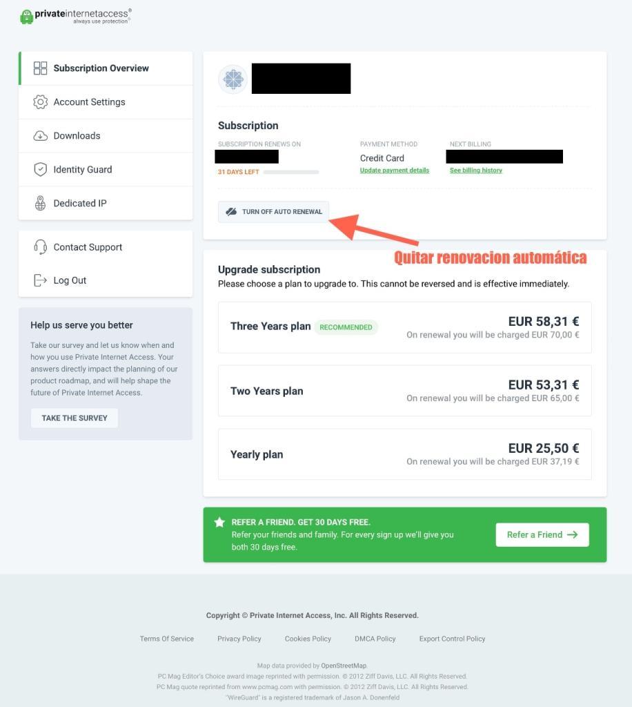 Private Internet Access (PIA VPN): proceso de alta en su pagina web