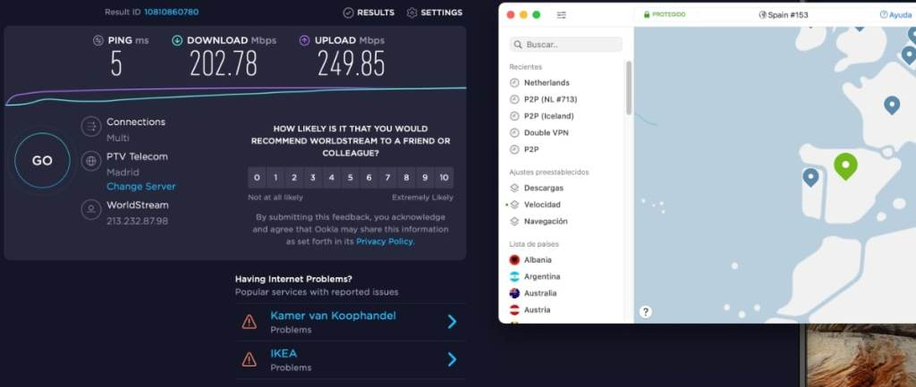 Velocidad servidor NordVPN en Madrid