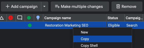 duplicating campaigns