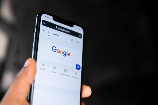 phone showing Google search bar