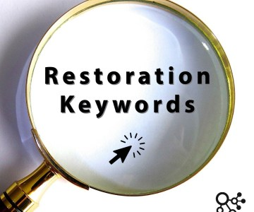 Restoration Keywords in magnifying glass