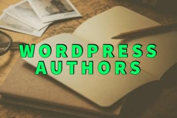 Wordpress authors written in green over blank notebook