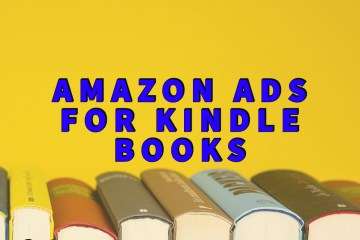 Amazon ads for kindle books written in blue over book spines