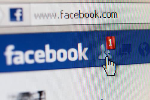 closeup of web browser with facebook