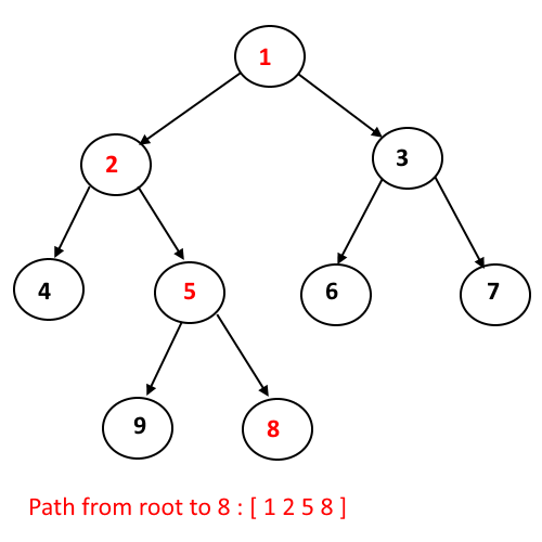 Print a path from Root to Node in Binary Tree | Algorithms