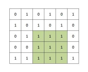 Maximum size square sub-matrix with all 1s Example