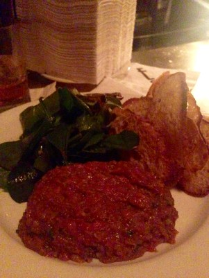 Hand-Cut Steak Tartar with Crostini & Mixed Greens Salad