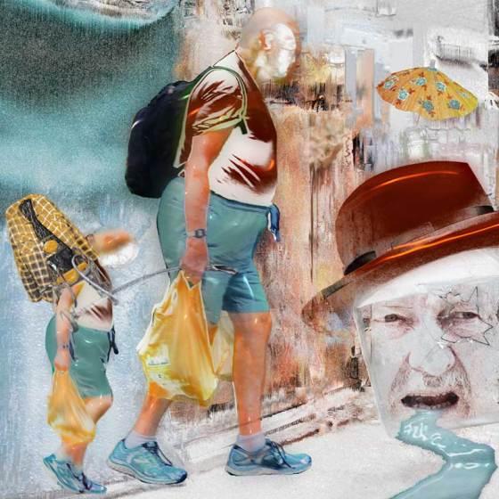 figures walking with plastic bags in street scene