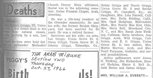 James Samuel Griggs Obit
