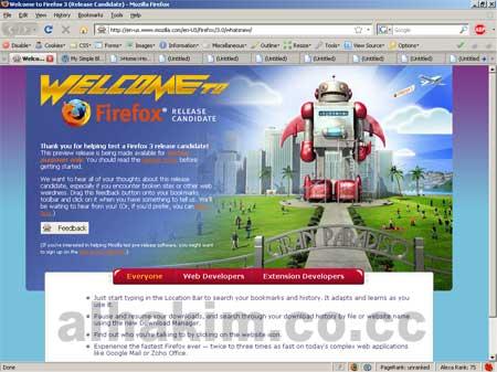 Firefox 3 welcome screen