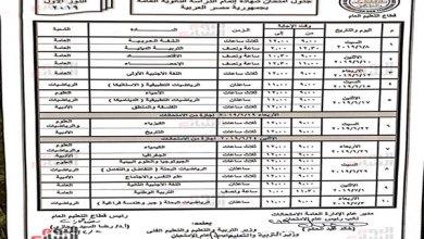جدول امتحانات الثانوية العامة