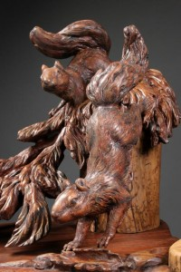 Custom, hand carved, table, squirrels