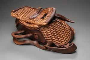 Custom, hand carved, table, fishing creel