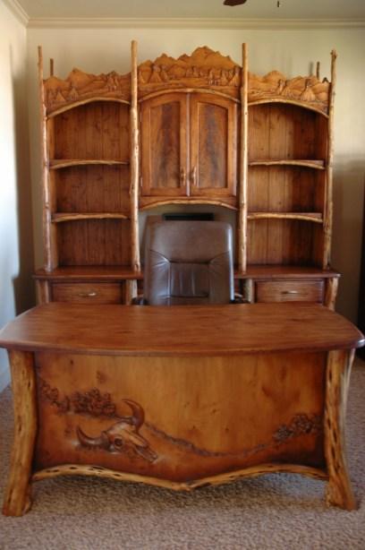 Hand carved desk, buffalo