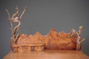 Hand carved desk, Tetons