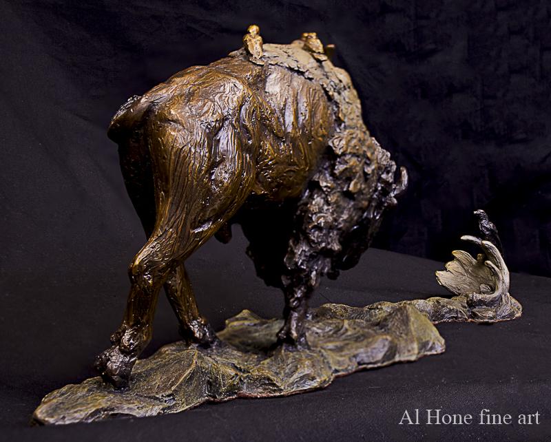 Bronze sculpture of buffalo, bison