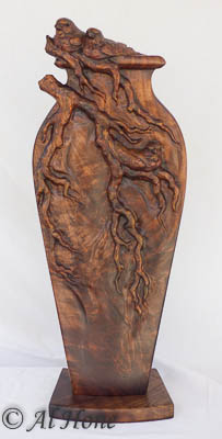 Wood sculpture of 3 finches