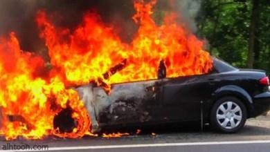 تدخل سريع جداً لإخماد النيران في السيارة المشتعلة