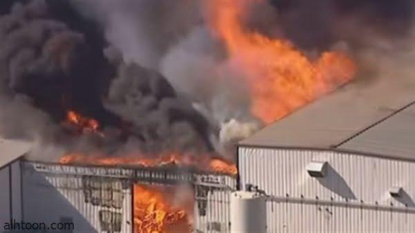 شاهد: حريق في مصنع كيماوي بأمريكا - صحيفة هتون الدولية