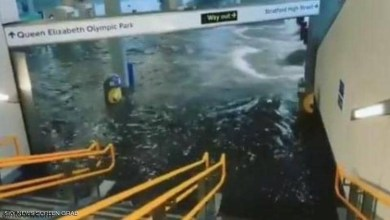 """مترو لندن يتحول لـ""""مسبح"""" بسبب الأمطار - صحيفة هتون الدولية"""