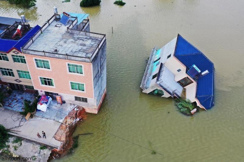شاهد: فيضان يغرق أحياء بالصين - صحيفة هتون الدولية