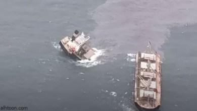 لحظة انشطار سفينة وغرقها ببحر اليابان - صحيفة هتون الدولية