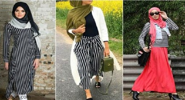 طرق تنسيق الملابس المخططة
